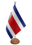 Costa Rica Desk / Table Flag with wooden stand and base